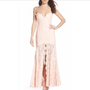 Fame and Partners Pink Lace Maxi Gown Dress 606